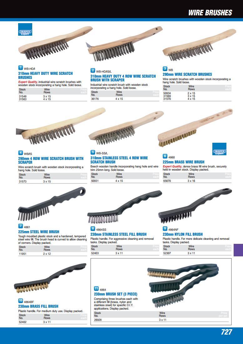 Draper WB//I 290mm 3 Row Wire Scratch Brush